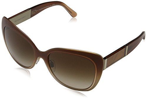 Burberry BE3088 Sunglasses 114513-57 - Light Gold Frame, Brown Gradient