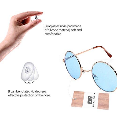 Or Punk Femmes Bleu Cyber UV400 Steampunk rond soleil Lunettes hommes de qualité Goggles pour rétro KINDOYO wpqA68Tn