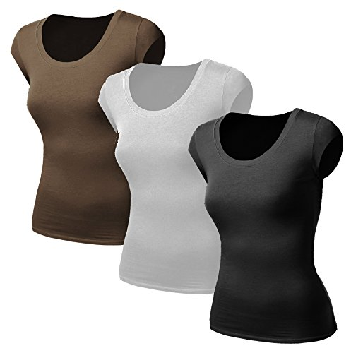 3x Damen Frauen Kurzarm T Shirt - 3er Pack - Basic TShirt - Basis Bluse - Tops - 3 in 1 Schwarz + Weiss + Braun Milliyet