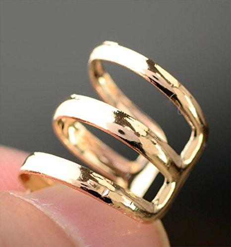 ACEFAST Jewelry Fashion Punk Rock Gold Plated U Ear Cuff Clip Stud Earrings (Golden)