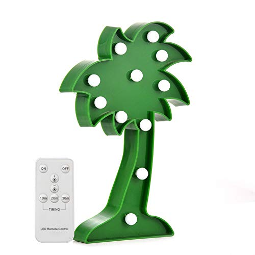 Battery Operated Night Light LED Marquee Sign with Wireless Remote Control for Kids' Room, Bedroom, Gift, Party, Home Decorations(Palm Tree) (Palm Tree Night Light)