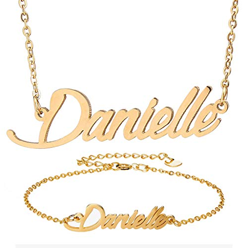 AIJIAO Personalized Name Necklace + Name Bracelet Sets for Women Nameplate Pendant Gift -Danielle Gold Set