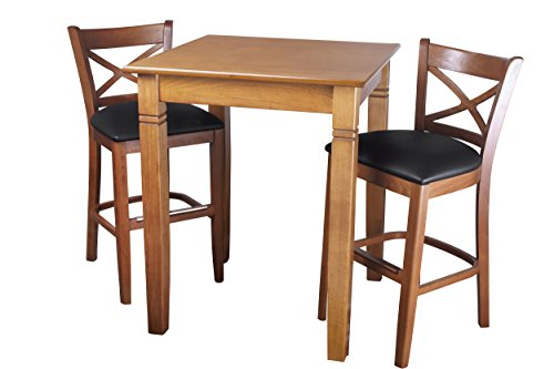 Beechwood Mountain PB-106B24-C 3Piece Solid Beech Wood Pub Set for Kitchen & Dining, Cherry