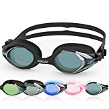 COPOZZ Competitive Swim Goggles, 3912 Shatterproof Swimming Reflective Mirror/Clear Anti Fog UV Protection Water Goggles, No Leaking Triathlon Racing Goggles