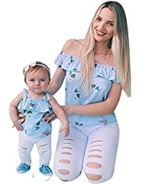 2018 Fashional Mommy &Me Baby Girl Floral Print Sleeveless Ruffles T-Shirt Tops Family Clothes Parent-Child Outfit