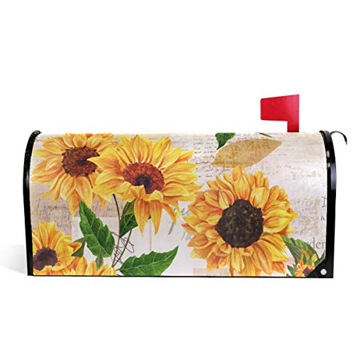 Watercolor Sunflowers Welcome Magnetic Mailbox Cover Wraps, Yellow Flower Standard Size MailWrap for Outside Garden Home Decor 20.8
