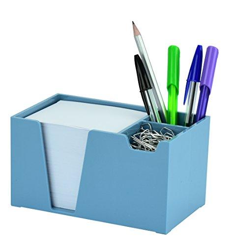 Acrimet Desk Organizer Pencil Paper Clip Holder (Solid Blue Color) (with Paper)