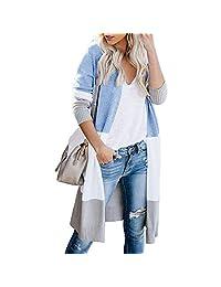 yokamira Womens Boho Open Front Cardigan Colorblock Long Sleeve Loose Knit Lightweight Sweaters