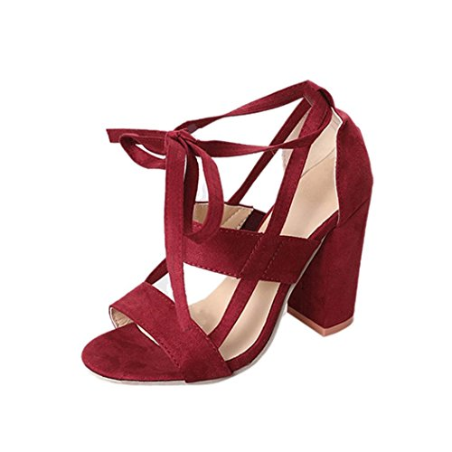 Anxinke Women Summer Lace-up Block Heels Ladies Ankle Strappy Open Toe High-heeled Sandals Wine Red