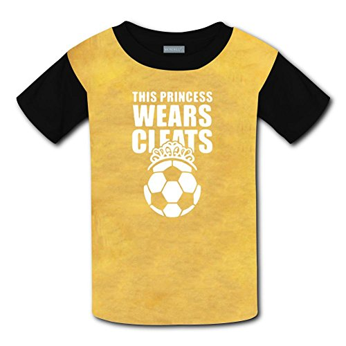 Round Neck 100% Polyester Fiber Cute Short Sleeve Top Shirt For Unisex Child,Print This Princess Wears Cleats Soccer,L