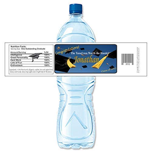 Graduation Water Bottle Labels, Personalized, Waterproof (Set of 24)(Y557) -