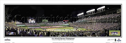 3 Champions Photo (2016 Chicago Cubs Game 3 Champions Team Panoramic Picture Photo - 13.5x39 Panoramic Poster. Frame Dimensions 13.5x39 with Black Metal Frame #2114)