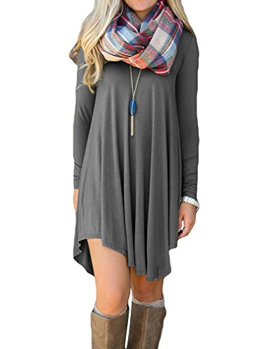 POSESHE Women's Long Sleeve Casual Loose T-Shirt Dress (XL, Grey)