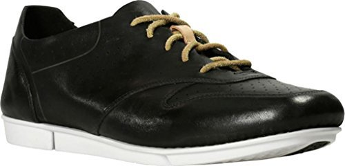 Clarks Women's Tri Actor Sneaker,Black Cow Full Grain Leather,US 8.5 M