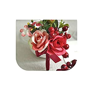 loveinfinite Handmade Rose Berry Wedding Prom Corsage Groom Boutonniere Lapel Pin Bracelet Party Bride Decor Exquisite Wrist Corsages Flowers,1 2