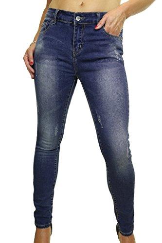 ICE (1521-1) Estensibile Jeans attillati con le gambe candeggiati e graffiato Blu