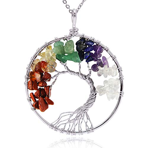 JANE STONE Tree of Life Pendant Necklace for Women Multi Color Amethyst Crystal Necklace Gemstone Chakra Jewelry ()
