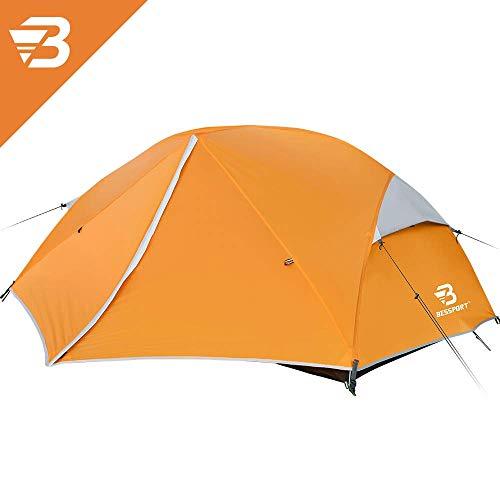 🥇 Bessport Tienda de Campaña 2 Personas Ligero con Dos Puertas A Prueba de UV/Viento Fuerte/Lluvia para Trekking