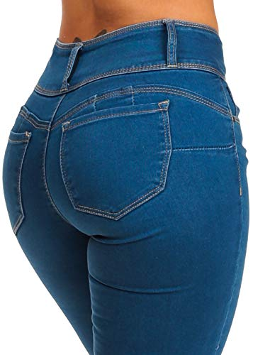 (Stylish High Rise Butt Lifting 3 Button Med Wash Skinny Jeans)