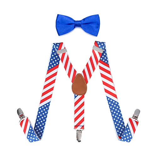 Child Kids Suspenders Bowtie Set - Adjustable Suspender Set for Boys and Girls (America Flag, 25Inches (5 Months to 6 Years))