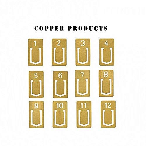 Brass Number Clip Set of 12,JoyTong Mini Paper Index Holder (Digital)
