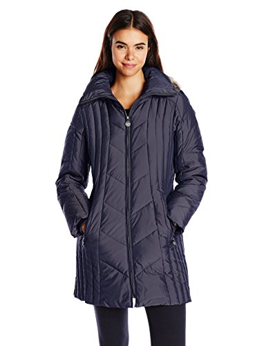 Anne Klein Women's 35 Inch Chevron Down Coat with Faux Fur Trim Hood, Navy, Large
