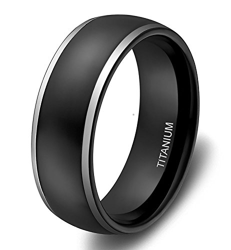 SOMEN TUNGSTEN 8mm Titanium Rings for Men Women Black Dome Two Tone Polish Wedding Band ()