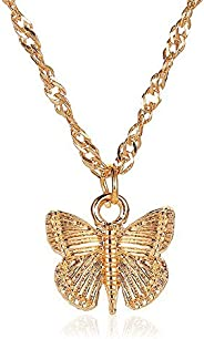 Elegant 3D Butterfly Pendant Necklace Silver and Golden Plated Handmade Dainty Butterfly Charm Chain Necklace
