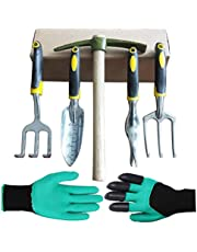 Garden Tool Set, 5 Garden Gifts, Shovel, rake, Fork, Soil Pick, Drafter. Good Helper for Gardening, Weeding, loosening, Digging, transplanting. Non-Slip Silicone Holster is Strong and Durable.…