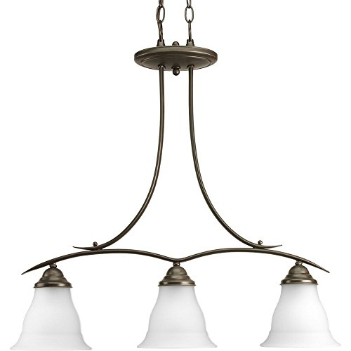 Progress Lighting P4325-20 3-Light Linear Chandelier with Etched Glass, Antique Bronze Trinity Antique Bronze Three Light