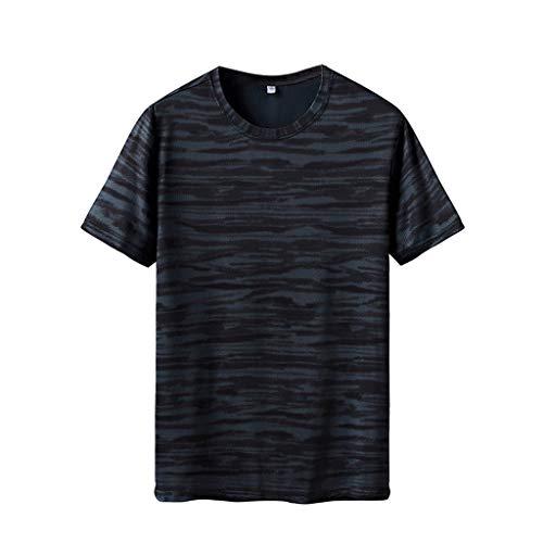 POQOQ T-Shirt Men's Heavyweight Cotton Short Sleeve Crew Neck T-Shirt Men's 1 Pack Short-Sleeve Men's Shrink-Less Lightweight Crewneck Pocketless Tee L Green ()
