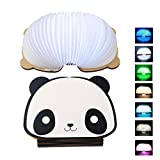 Panda LED Nightlight,NIUJNE USB Rechargeable dable Wooden Book Shape Desk Lamp Nightlight for Home Decor Children Baby Bedroom Color Night Lamp,Best Gift for Kids (Panda Style)