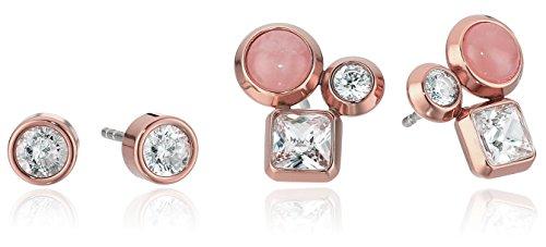 Michael Kors Brilliance Easy Opulence Rose Gold-Tone, Crystal and Rose Quartz Cluster Stud Earrings (Quartz Rose Cluster Earrings)