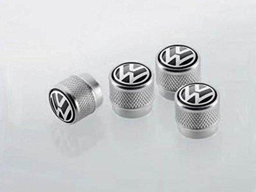 Volkswagen Valve stem Caps Brass Black on Silver