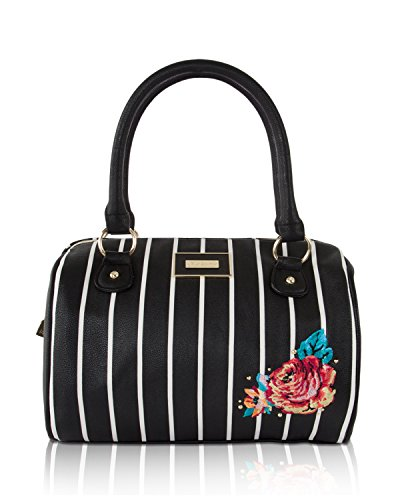 (Betsey Johnson Medium Speedy Barrel Satchel Bag - Stripe)