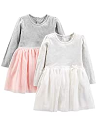 Simple Joys by Carter's Toddler Girls' 2-Pack Long-Sleeve Dress Set with Tulle