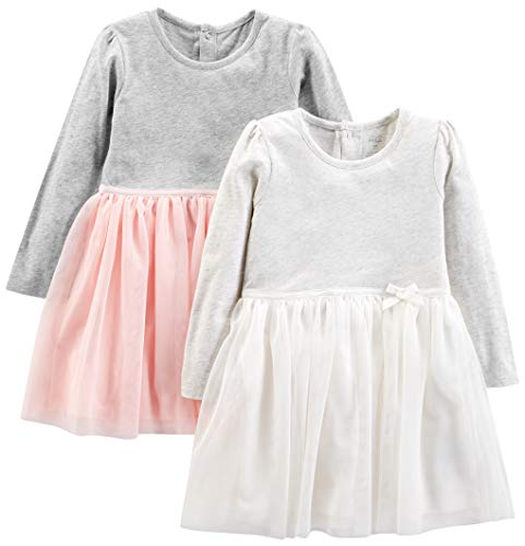 Simple Joys by Carter's Girls' Toddler 2-Pack Long-Sleeve Dress Set with Tulle, Pink/Gray, 5T