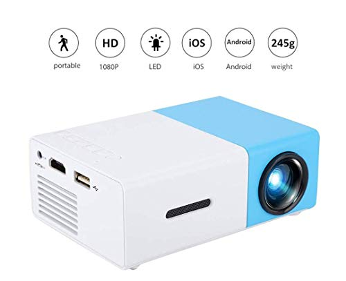 Mini Projector,1080P Full HD LED Video Projector Home Theater Beamer,Indoor&Outdoor Portable Projector,Ideal for Living Room /Bedroom/Camping/Travel/Party