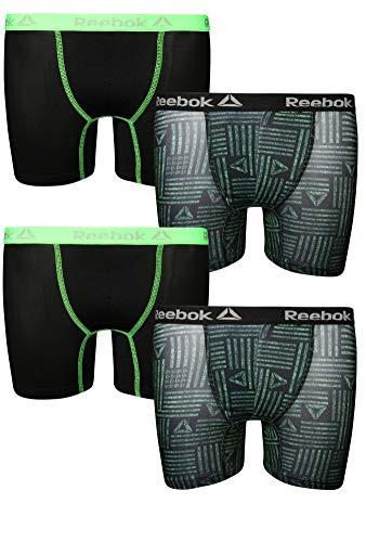 - Reebok Boys Performance Boxer Briefs Underwear (4 Pack), Army Green/Black, Size 8/10'