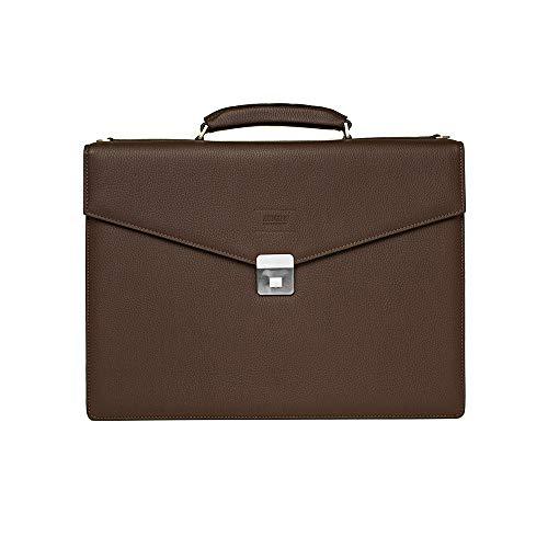 Giorgio Armani Collezioni Men's Matte Grained Leather Briefcase Bag with Shoulder Strap Brown