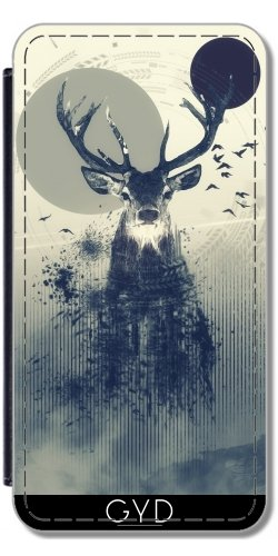 Leder Flip Case Tasche Hülle für Apple iPhone 5C - Hirsch Design 2 by Romain Bonnet
