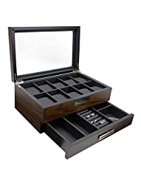 Decorebay Executive Wooden Watch Box Valet Box Sunglasses and Jewelry Box Storage Organizer (Sweetheart)