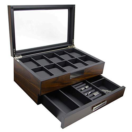 Decorebay Executive High Class Wood Watch, Sunglasses, Cuff Link Case & Ring Storage Organizer Men's Jewelry Box Gift (Walnut)