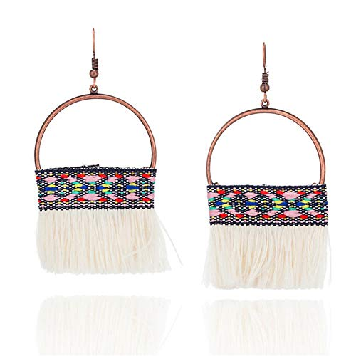 (Whawhodp 8 Colors 2018 Half Moon Fringing Earring Statement Jewelry Tassel)