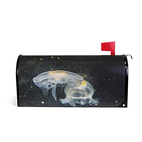 Sawhoon Art Transparent Jellyfish Night Mailbox Cover Mailwraps Magnetic Post Box Decor for Large Medium Mail -