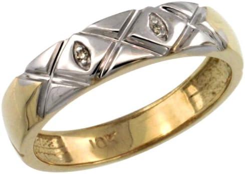 w// 0.013 Carat Brilliant Cut Diamonds size 6 5//32 in. 4.5mm 10k Gold Ladies Diamond Wedding Ring Band wide