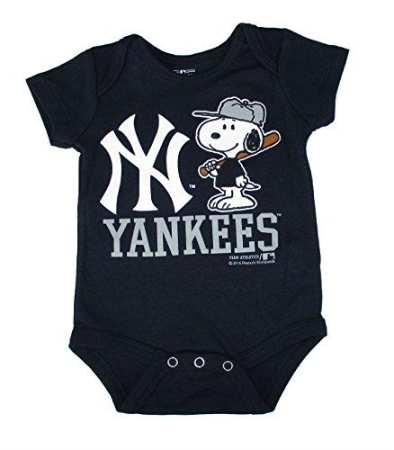 New York Yankees Snoopy At Bat Infant Size 18 Months Onesie / Bodysuit - Navy Blue Creeper