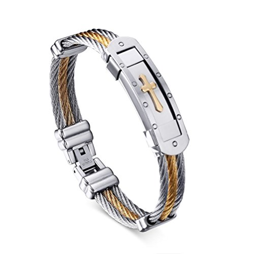 Mens Stainless Steel Cross ID Bracelet Bangle 3-ToneTwisted Cable,Gold and Silver (Wood Cross Bracelet)