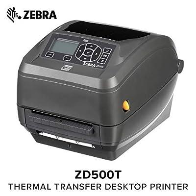 Zebra Technologies ZD50042-T11200FZ Series ZD500 Thermal Transfer Performance Desktop Printer, 203 DPI, USB/Serial/Centronics Parallel/Ethernet, Peel, US Power Cord, Black
