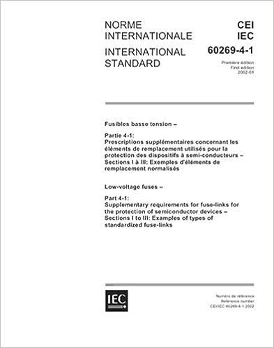 IEC 60269 4 1 Ed 10 B2002 Low Voltage Fuses